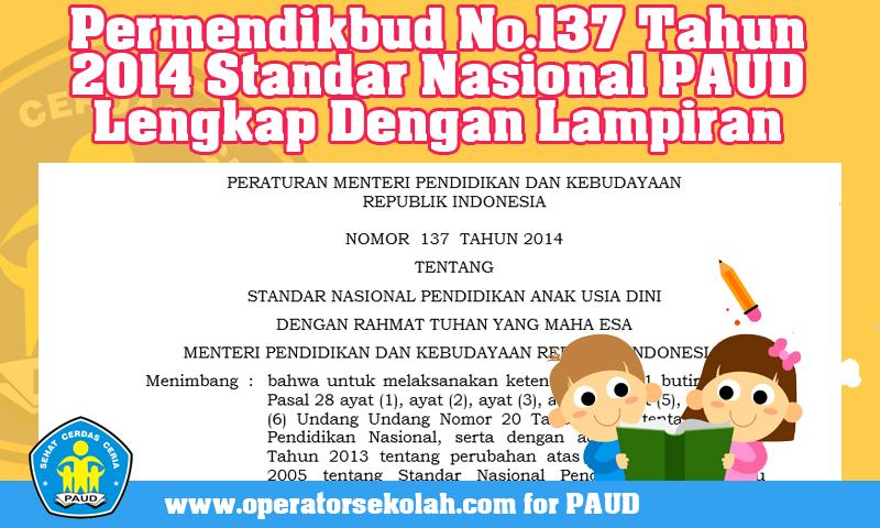Download Permendikbud No.137 Tahun 2014 Standar Nasional PAUD Lengkap Dengan Lampiran