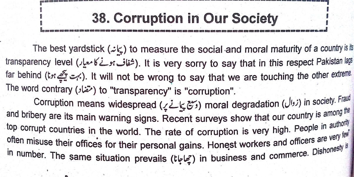 corruption and society essay