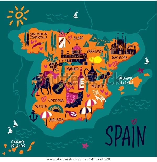 خريطة اسبانيا السياحية