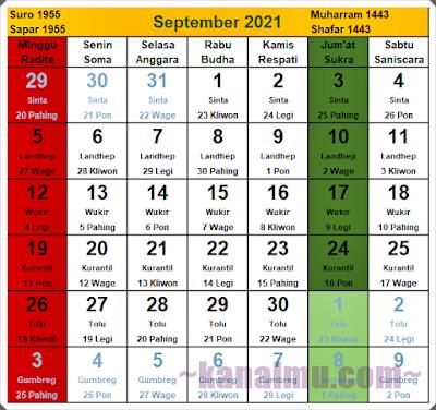 kalender jawa bulan september 2021 - kanalmu