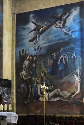 Mural de la Muerte de Cristo. Iglesia de San Pedro de Pola de Siero. Casimiro Baragaña