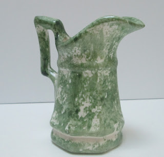 Green and White Splashed Pottery Pitcher spout right
