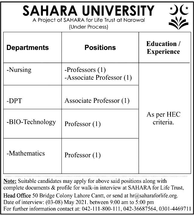 Latest Jobs in Sahara University May 2021