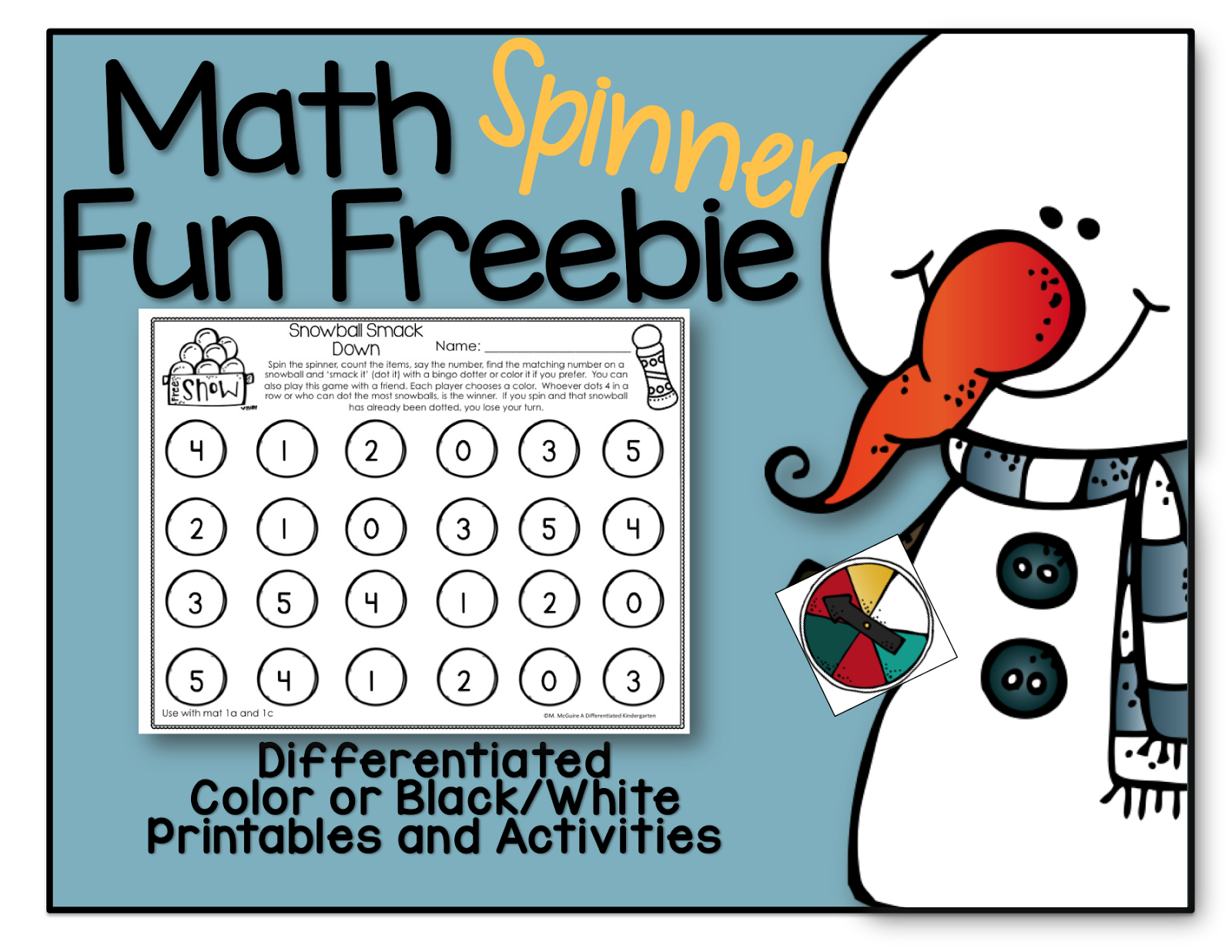 A Differentiated Kindergarten Spinning Up Math Fun And A Freebie For January