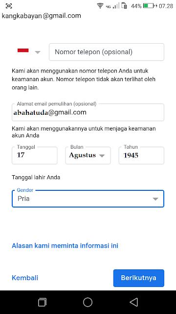 Konfirmasi Email Pemulihan Gmail