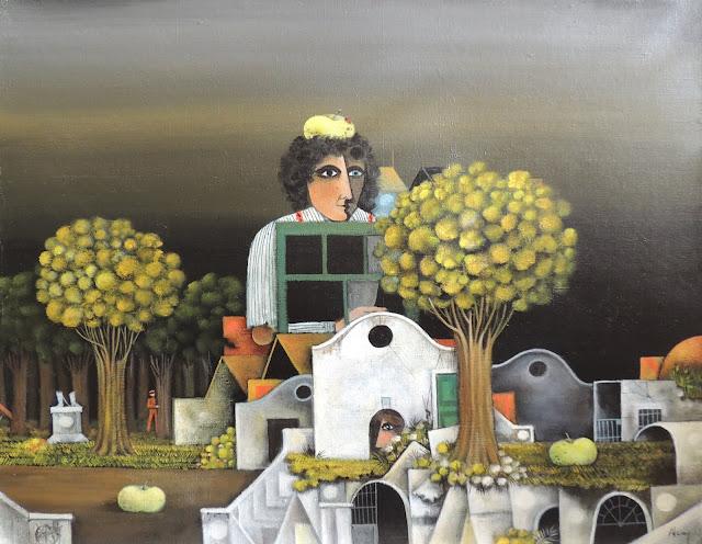 Eduard Alcoy cuadro surrealista paisaje retrato