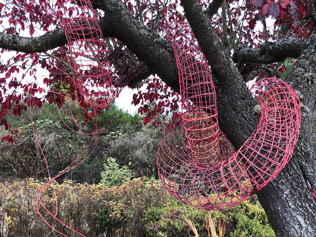 An open work tube of red basketweaving snakes through the branches of a small tree