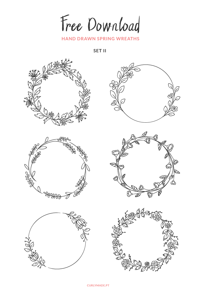 FREE DOWNLOAD a new set of 6 flower spring wreaths vectors to use on your designs this upcoming season. Files available in eps and png. #free #vectors #spring #crafts #diy #design