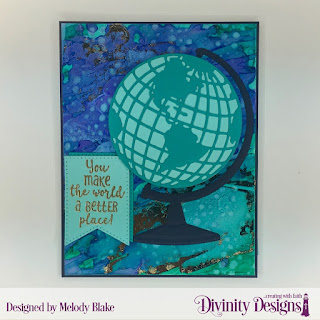 Divinity Designs Stamp Set: Color My World, Custom Dies: Globe & Stand, Circles, Large Banners, Mixed Media Stencils: Bubbles