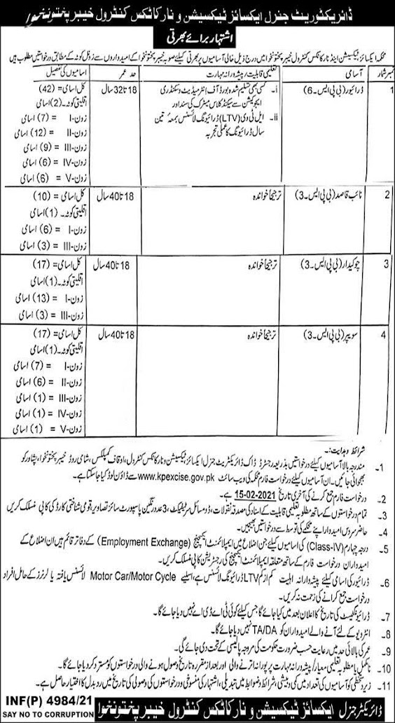 Jobs in the Excise and Drug Control Department 2021 - Download the Tax and Drugs Job Application Form 2021 - www.kpexcise.gov.pk - Work in the Excise Police 2021