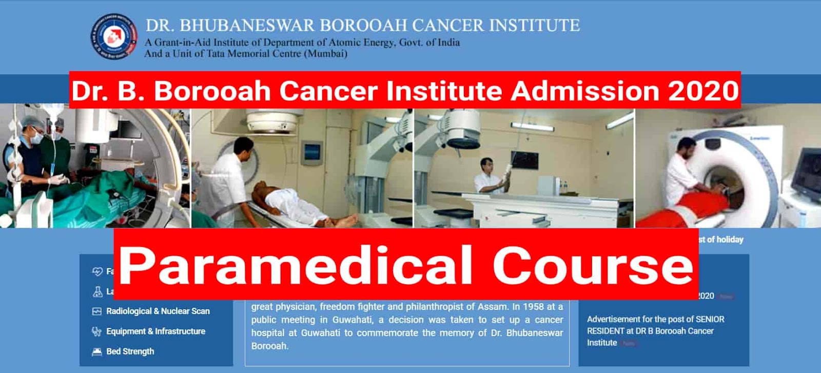 B Borooah Cancer Institute Paramedical Course Admission 2020