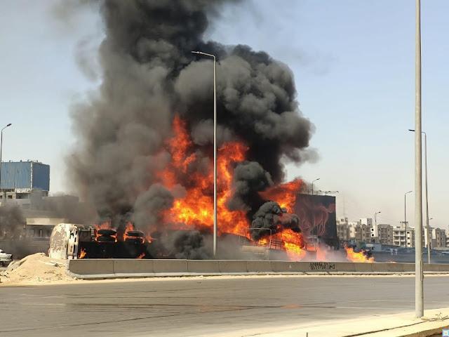 حريق الدائري تفحم 7 عربيات ملاكي واصابة شخصين