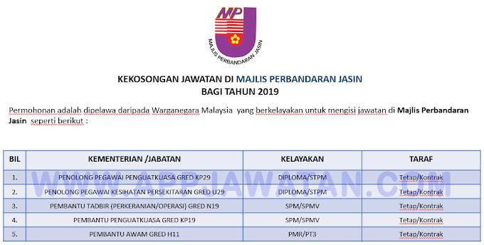 Jawatan Kosong Terkini di Majlis Perbandaran Jasin.