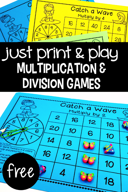 These games will give your students the practice they need to master the basic multiplication and division facts.  This pack has 20 Multiplication & Division games – no prep and easy to play!
