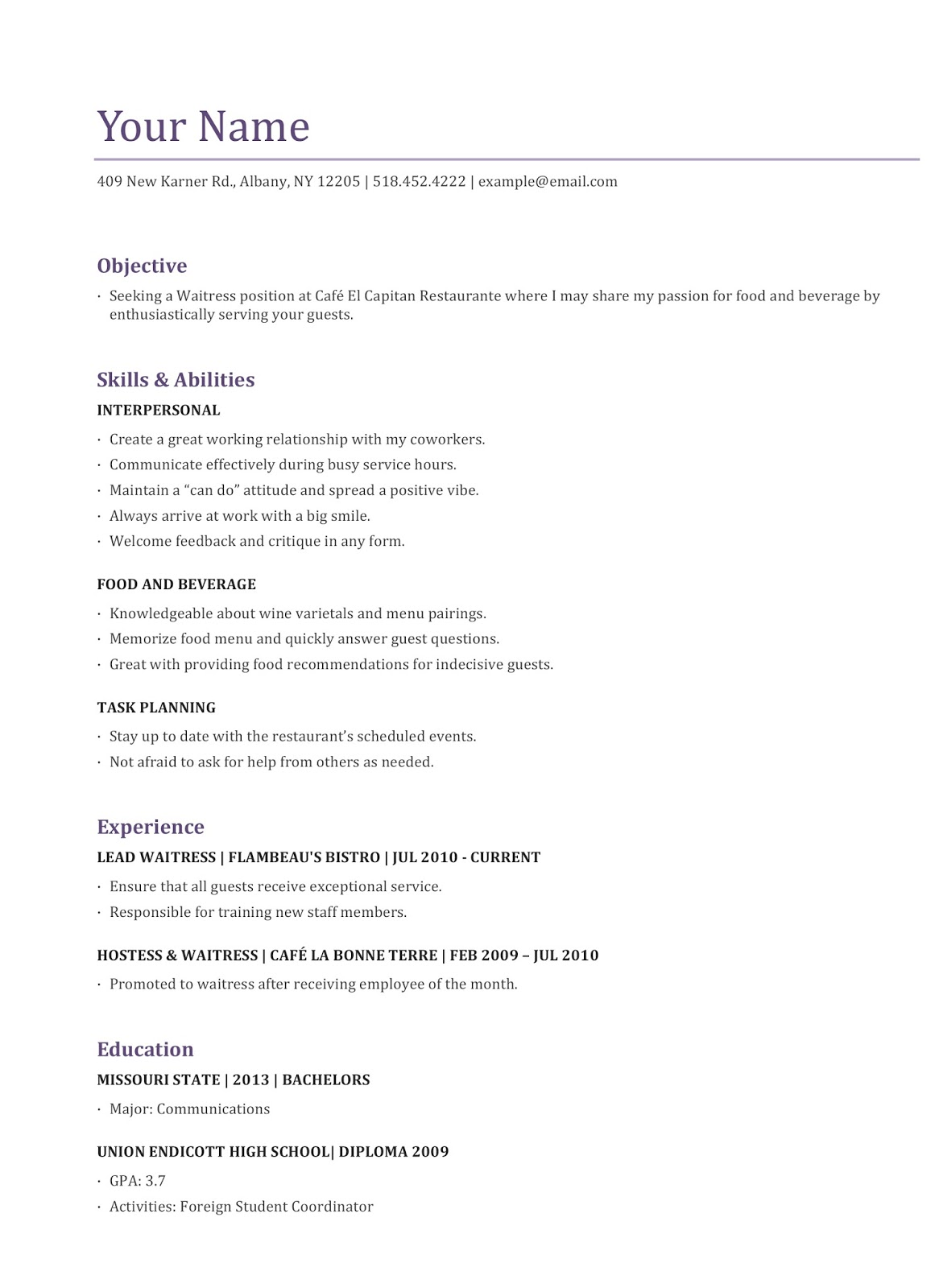 sample resume for a waitress sample resumes so do not think too much to make your sample resume for a waitress there are many examples of sample resume for a waitress in our website the best