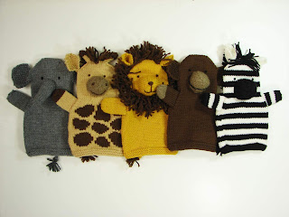 hand, puppet, knit, pattern, menagerie, safari, elephant, giraffe, lion, monkey, zebra