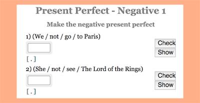 Present Perfect practice: Negative sentences