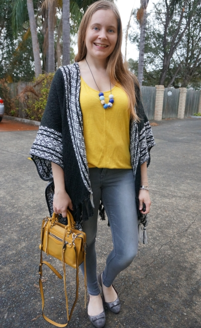 Rebecca Minkoff ruana poncho with grey skinny jeans mustard tank and bag dinner outfit | awayfromblue