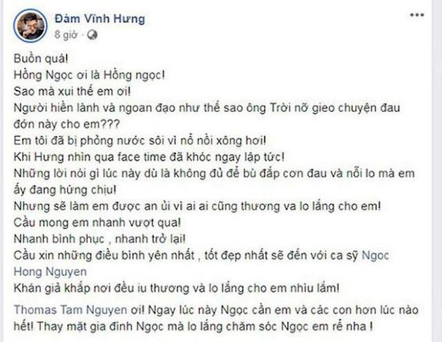 """Ca sĩ Hồng Ngọc bị bỏng nặng 2/3 mặt: """"Đau lắm, nhưng em mà, không sao hết"""""""