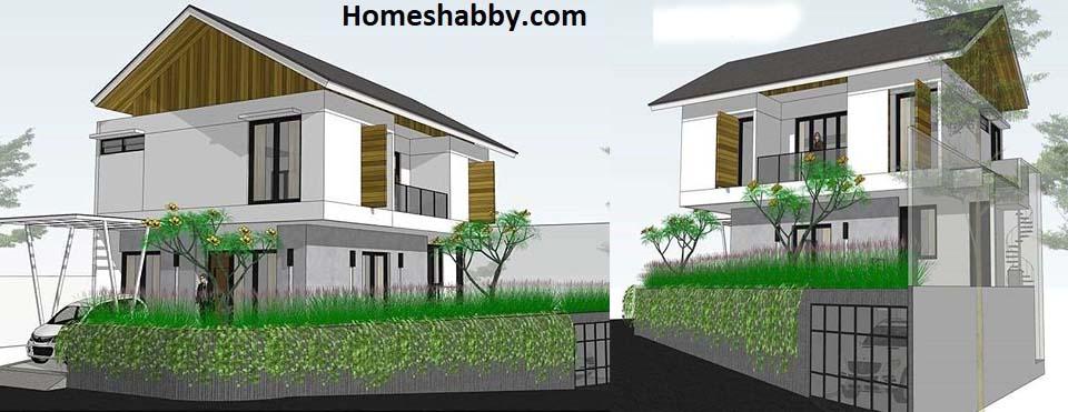 Desain Dan Denah Rumah Bertingkat Di Sudut Jalan Dan Lahan Miring Dengan Garasi Bawah Tanah Homeshabby Com Design Home Plans Home Decorating And Interior Design