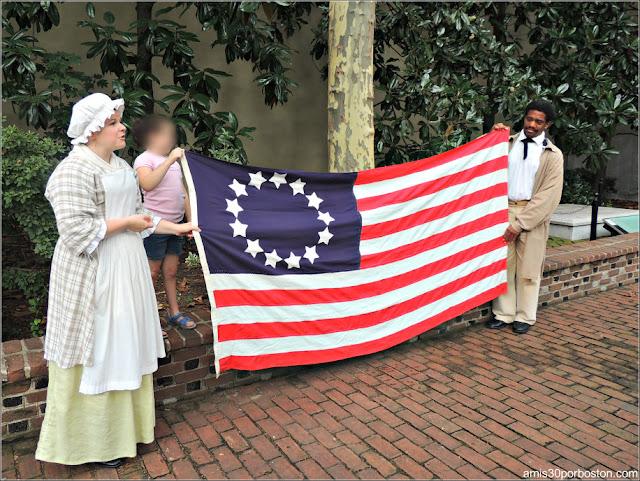 Bandera en la Casa Museo de Betsy Ross en Filadelfia