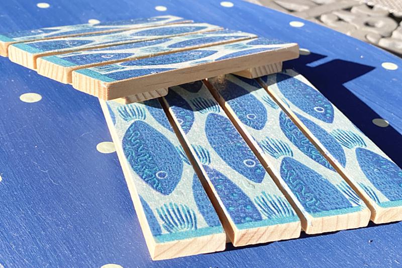 wooden mini pallet fish coasters