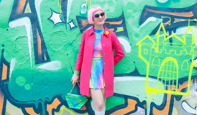 rainbow look, spring outfit, pink hair