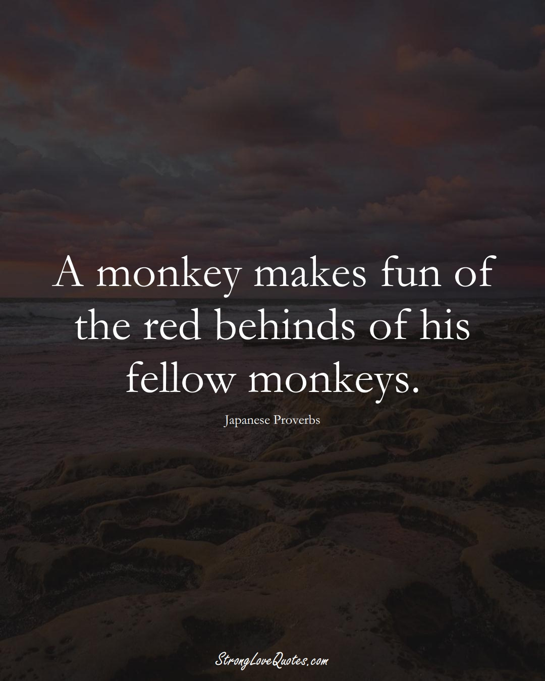 A monkey makes fun of the red behinds of his fellow monkeys. (Japanese Sayings);  #AsianSayings
