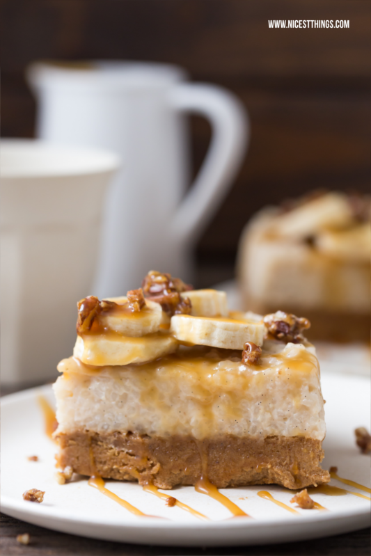 Milchreiskuchen / Milchreistorte mit Bananen und Karamell
