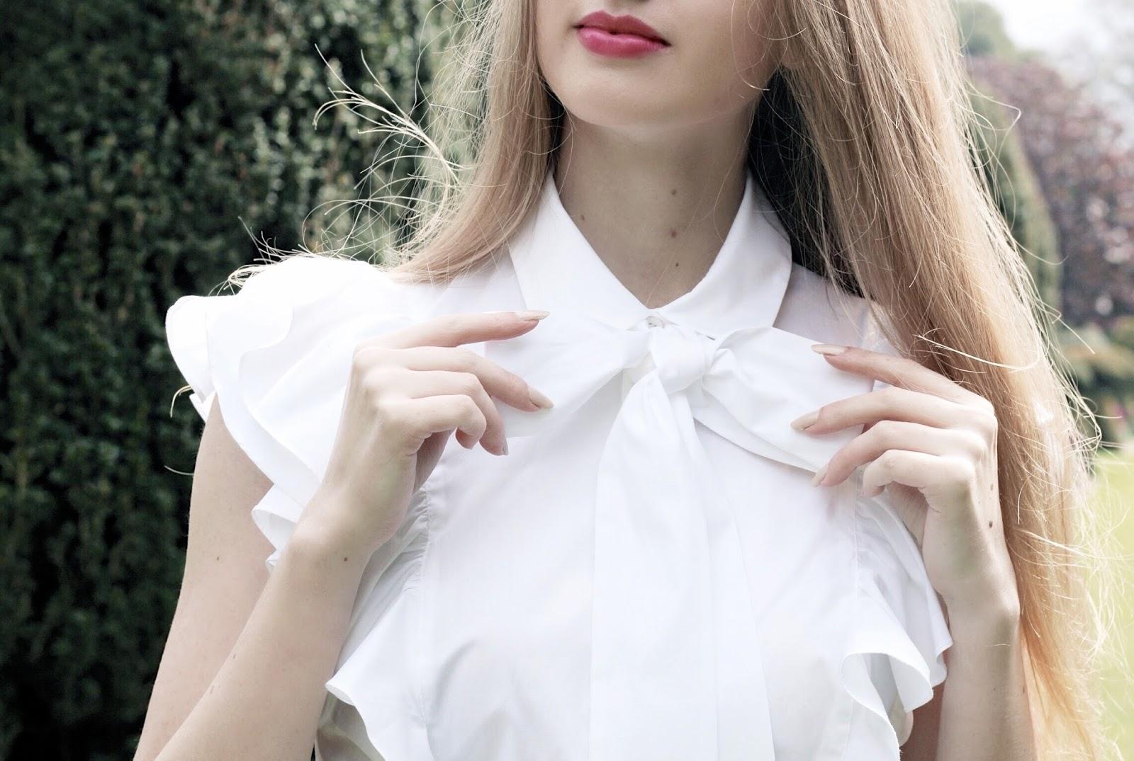 Karen Millen The Super Frill White Shirt