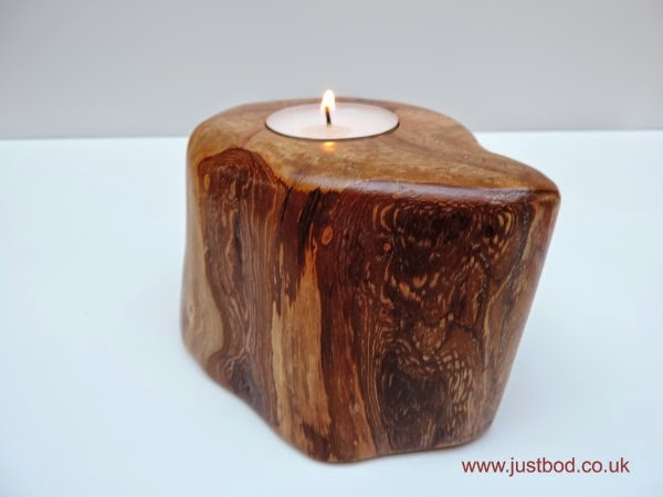 Sculpted wooden Hawthorn tealight holder