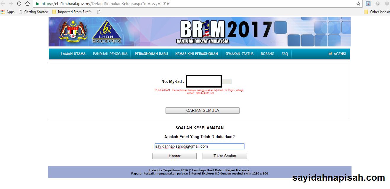 SEMAKAN STATUS PERMOHONAN BR1M 2017 SAYA - DALAM PROSES