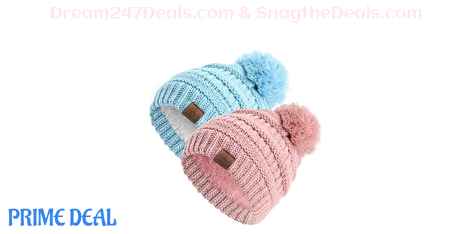 50% off Anazalea Fleece Lined Baby Beanie Hat, Infant Toddler Kids Winter Warm Knit Cap for Boys Girls (Pink&Blue)