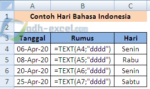 menampilkan hari bahasa indonesia dengan rumus TEXT