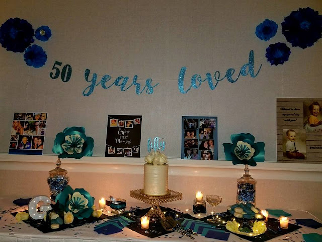 50 years loved birthday party cake table