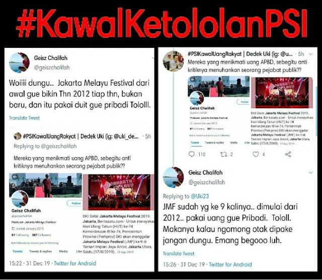 Jubir PSI Fitnah Jakarta Melayu Festival Dibiayai APBD DKI