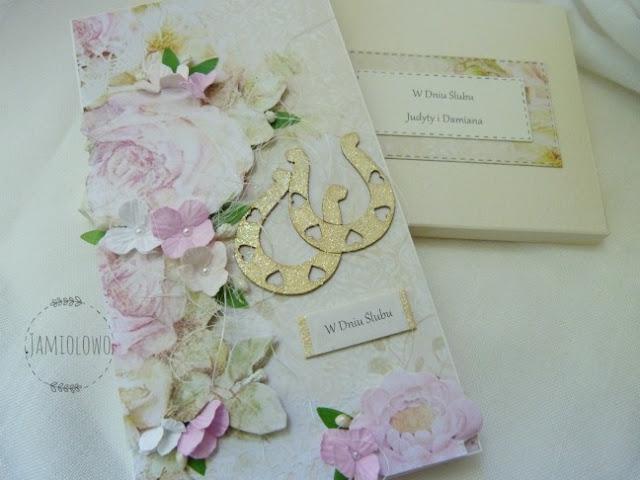 ślubny zestaw -kartka z pudełkiem