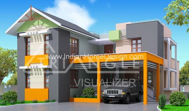 Trendy kerala modern house design from triangle visualizer team - Home design visualizer ...