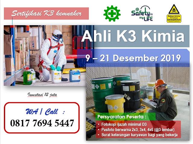 Ahli K3 Kimia kemnaker tgl. 9-21 Desember 2019 di Jakarta