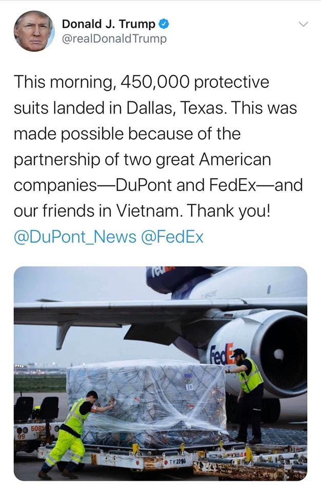 Báo chí VN tung tin giả: 450.000 bộ quần áo bảo hộ y tế là do công ty Mỹ sản xuất đặt tại VN