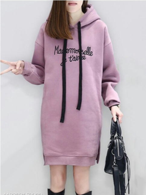 Hooded Side Slit Slit Pocket Embroidery Letters Hoodies- Price:$22.95