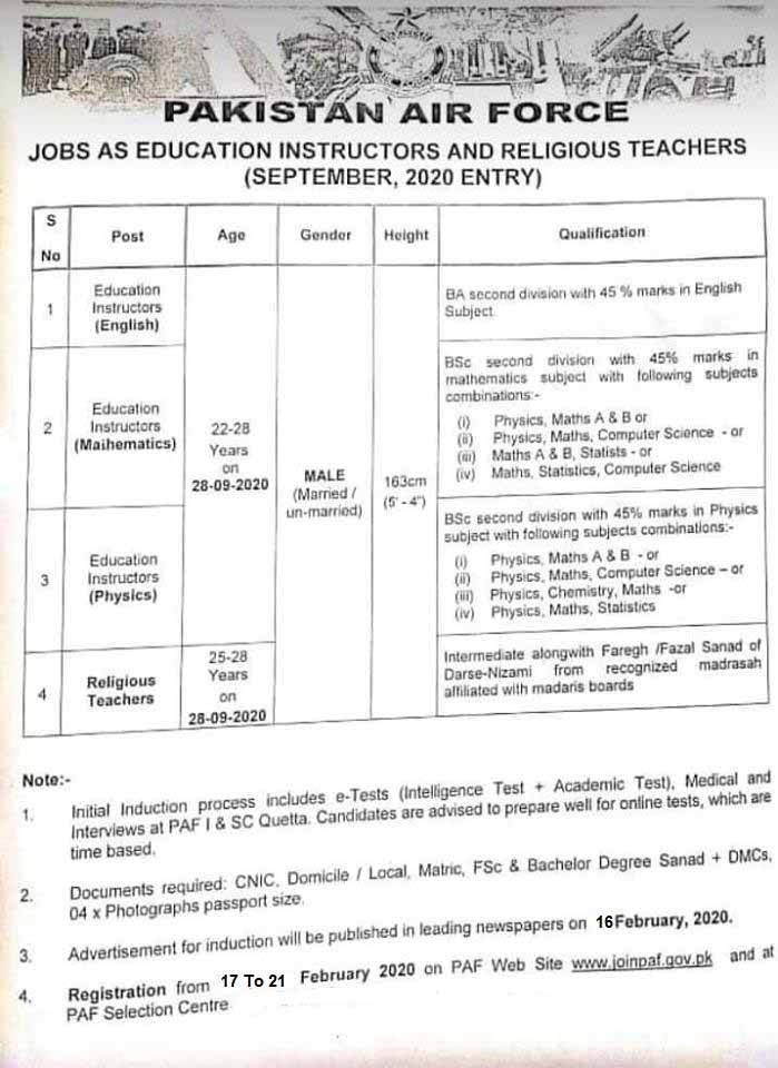 Pakistan Air Force Jobs For Education Instructor, Religious Teacher and Others February 2020 (100 Posts)