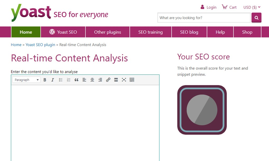 Yoast real-time content analysis free blogging tool