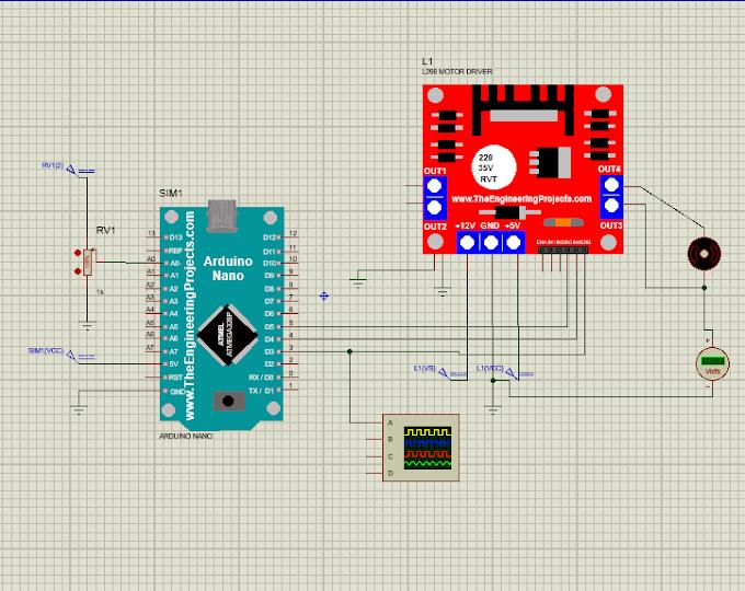 Mengatur Kecepatan Motor DC (PWM) + Driver Motor L298 pada Arduino Nano menggunakan Proteus