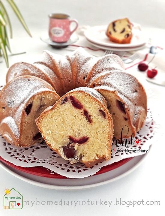 Cherry Pound Cake. Best recipe with Video   Çitra's Home Diary. #cherrycake #poundcake #coffeecake #cherryrecipeidea #kekbuahcherry #kirazlıkek #kirazlikek #resepbuttercake #fruitcake