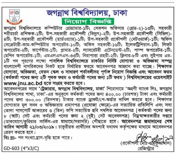 Jagannath University (JU) Job Circular 2019
