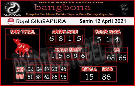 Prediksi Bangbona SGP Senin 12 April 2021