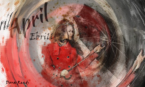 'April - Ebrill' with girl in a coat holding an umbrella, and an artsy swirl around it