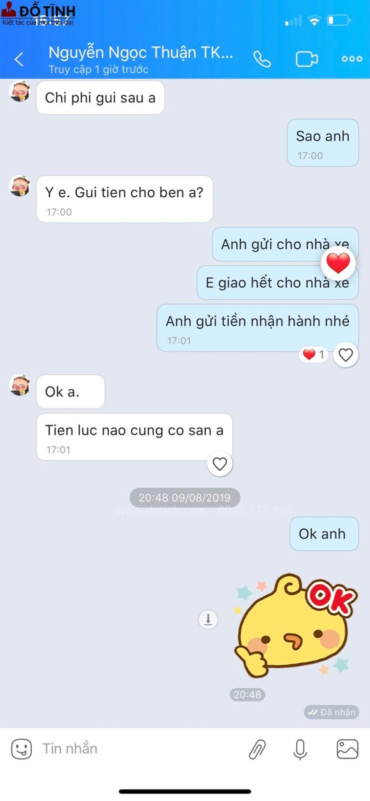 Những lời nhắn đáng yêu của vị khách hàng tại Sài Gòn dành cho bộ trường kỷ TK28