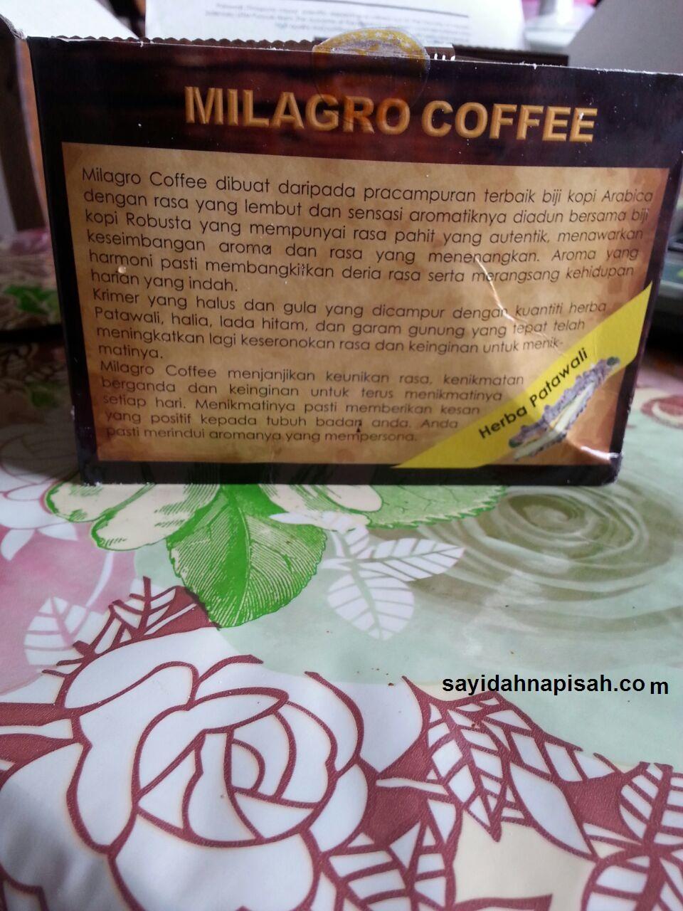 Milagro Coffee Patawali : Penawar Kencing Manis & Darah Tinggi